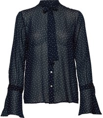 d1. french dot chiffon bow blouse blouse lange mouwen blauw gant