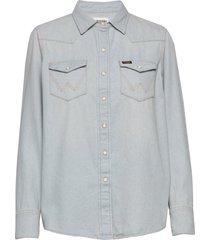 27ww overhemd met lange mouwen blauw wrangler
