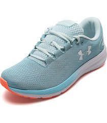 tenis running azul-blanco under armour charged porsuit 2
