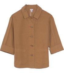 button front jacket in khaki