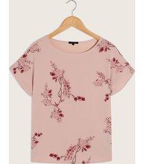 camiseta de estampación tipo floral y fondo unicolor-m