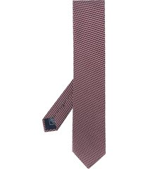 brioni geometric-print pointed tie - red