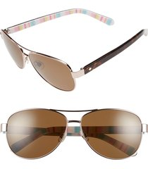 women's kate spade new york 'dalia' 58mm polarized aviator sunglasses - rose gold/ red