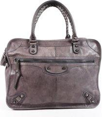 balenciaga gray leather zip tote bag gray sz: l