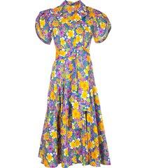 lhd floral-print poplin dress - blue