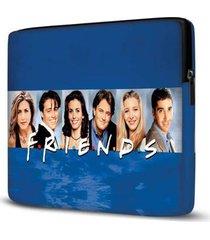 capa para notebook friends 15.6 à 17 polegadas com bolso azul - unissex