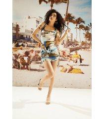 fitted mini-dress south beach - blue - l