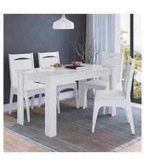 conjunto mesa fica com 4 cadeiras mdf branco lilies móveis