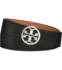 women's tory burch reversible logo belt, size xx-large - black/ cuoio/ silver