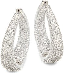 adriana orsini women's rhodium-plated & crystal twist hoop earrings