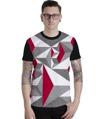 camiseta lucinoze camisetas manga curta abstrato cinza/preta