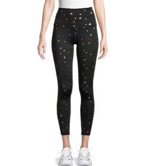 chrldr women's high-waist allover star leggings - black - size l