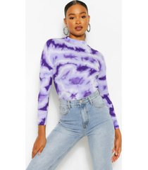 tie dye rib knit sweater, purple