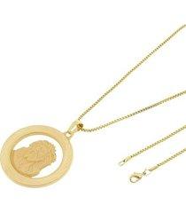 kit medalha face de cristo tudo joias com corrente veneziana 1,5mm e 60cm folheado a ouro 18k