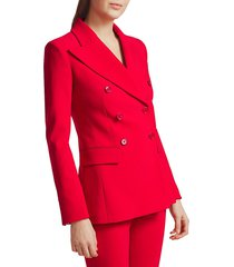 michael kors women's double-breasted stretch-wool blazer - crimson - size 2