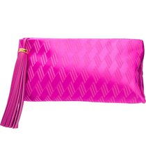 the attico textured zip-up clutch bag - pink