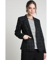 blazer feminino estampado quadriculado com bolsos preto