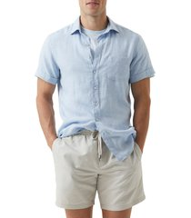 men's rodd & gunn regular fit ellerslie linen shirt, size xxx-large - blue