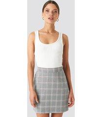 na-kd classic light checkered mini skirt - blue