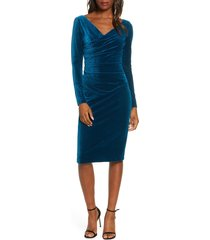 women's vince camuto long sleeve ruched stretch velvet dress, size 4 - blue/green