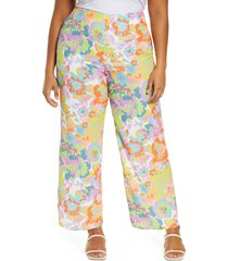 plus size women's never fully dressed freya floral high waist wide leg pants, size 18 us - yellow