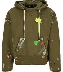 palm angels painted palm tree hoodie