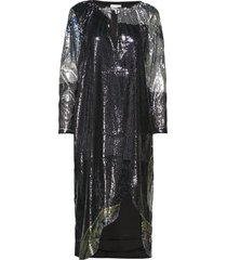 sequin mesh dress jurk knielengte zwart ganni