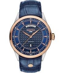 roamer men's 3 hands day date 42 mm dress watch in steel case on strap