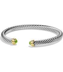 david yurman cable classics bracelet with semiprecious stones & 14k gold, 5mm, size medium in peridot at nordstrom
