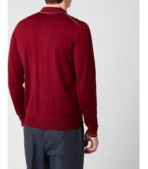 missoni men's outline detail long sleeve polo shirt - red - 46/s