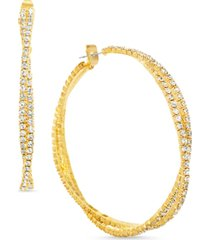 steve madden gold-tone medium crystal twisted double hoop earrings, 2.04""