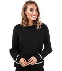only womens nanna knit mix crew sweatshirt size 16 in black