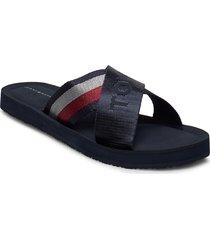 tommy strap comfy beach sandal shoes summer shoes flat sandals svart tommy hilfiger