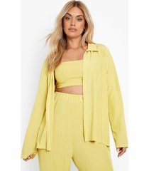 plus oversized gerecyclede geribbelde blouse, mustard