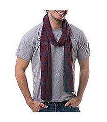 men's alpaca blend scarf, 'diamond sophistication' (peru)