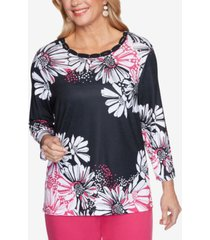 alfred dunner women's missy clean getaway daisy dots top