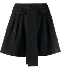 iro high-rise tie waist shorts - black