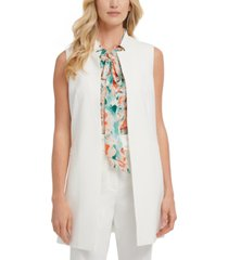 dkny notch-collar long vest