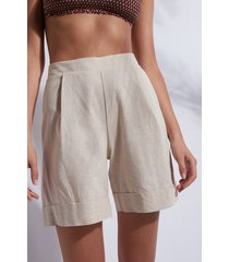 calzedonia cotton and linen shorts woman nude size m