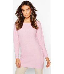 slash neck fisherman sweater, pastel pink