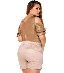 blusa plus en colores metalizados marca trucco's