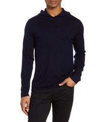 men's vince wool & cashmere pullover hoodie, size x-large - blue