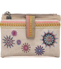 billetera blanco hueso- multicolor desigual