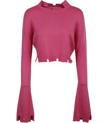 the attico long flared sleeves cropped pullover