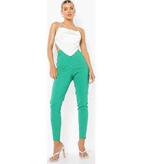stretch skinny fit broek met naaddetail, bright green