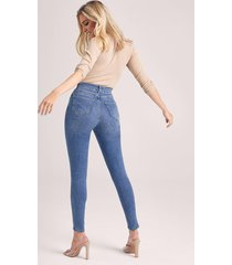 mid rise booty shaping skinny jeans, middenblauw
