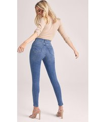 butt shaper mid rise skinny jeans, mid blue