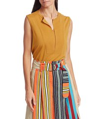 akris punto women's sleeveless wool vented knit top - sun - size 14