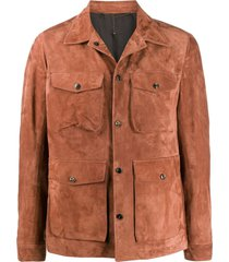 ajmone long sleeve utility jacket - brown