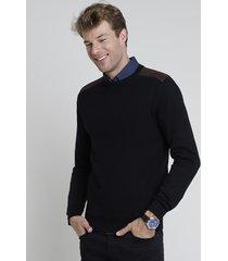 suéter masculino em tricô texturizado com recorte em suede preto